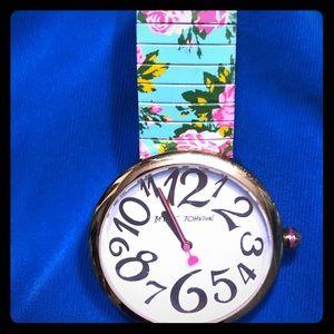 Betsey Johnson stretch band Flowered watch